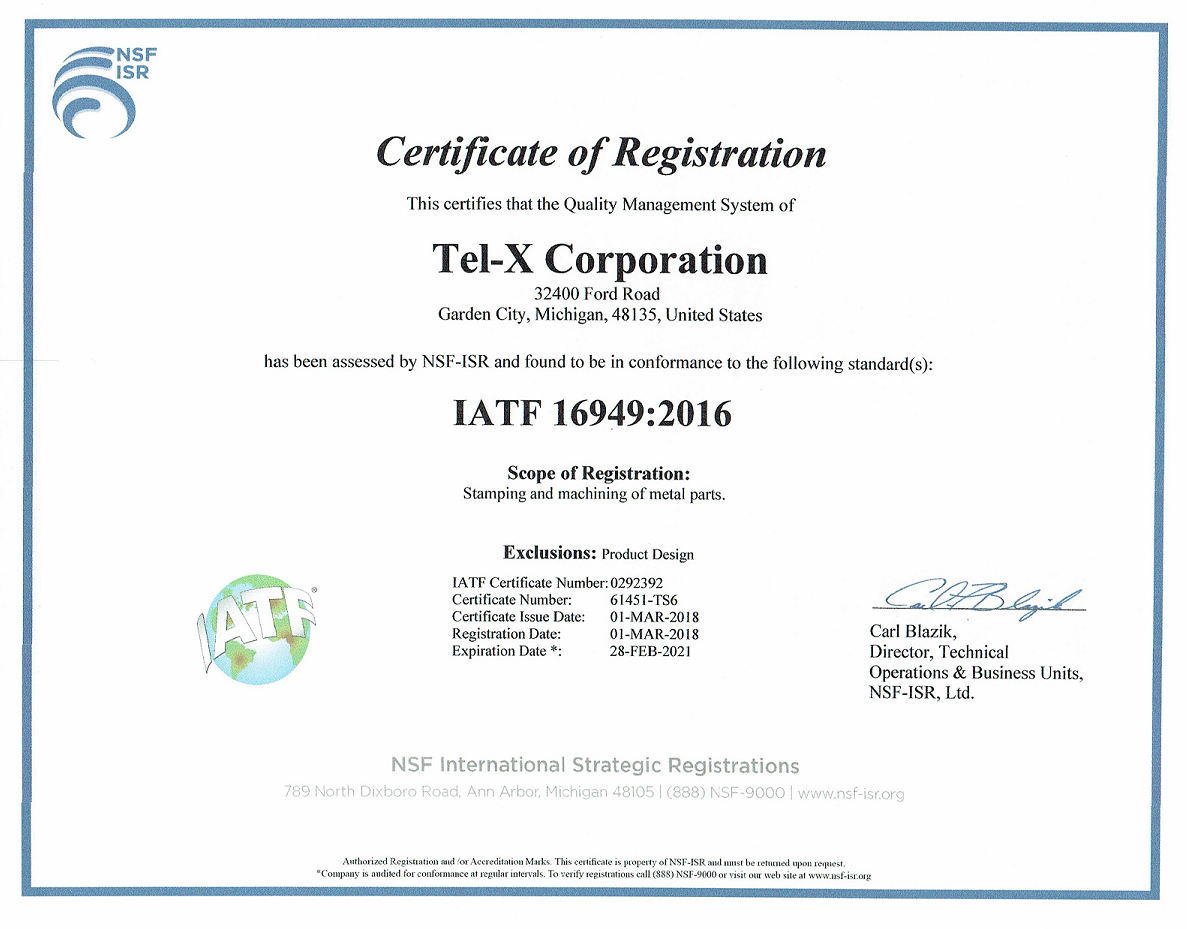 IATF 16949 Cert 2018